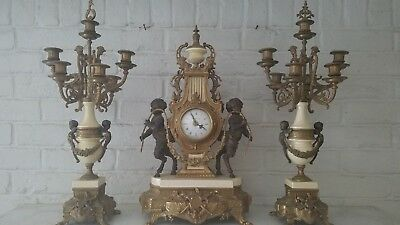 Imperial Style Gilt Bronze and Marble Mantel Clock and Candelabra