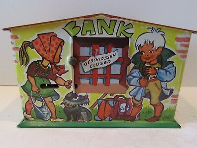 German Tin Keylock Semi-Mechanical Bank (Antique Tin Lithograph Bank)