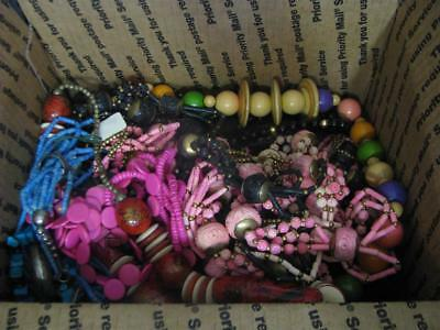 Lot of Vintage Estate Jewelry 6 Pounds + Silver Wood Carved and Beaded Necklaces