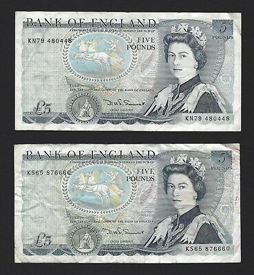 1980 Great Britain Bank of England 5 Pounds, PP-378c Somerset Sig, 2x VF