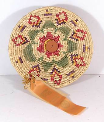 1988 Native American Apache Indian Award Winning Decorated Coil Basket Bowl