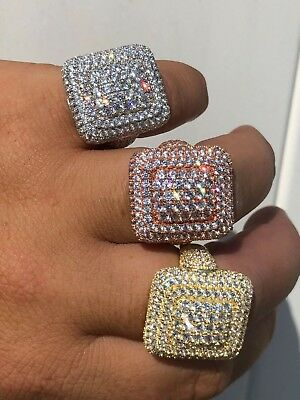 Solid 925 Silver Men's Hip Hop Rapper Big Diamond Pinky RING 14k Gold ICY CUSTOM
