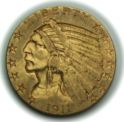1911-S $5.00 Half Gold Eagle - Indian Head - Better Date - No Reserve!