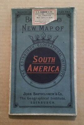 Bartholomew's New Map of South America,Linen Mounted Folding Map,1880's-1890's