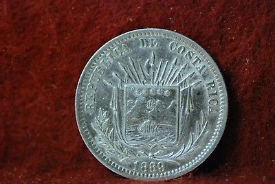 Costa Rica, 1889 25 Centavos, Extremely Fine, cleaned, SCARCE. Or Best,    mab18