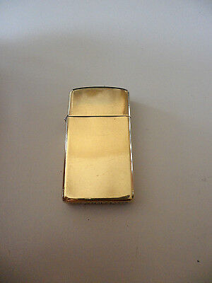 Zippo Slim Solid Brass Rare Vintage Lighter Engraved 1932-1989 Very Good Condit.