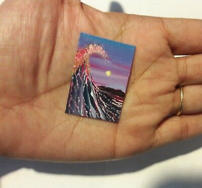 Original 1 x1.5 Inch Dollhouse Painting Seascape Waves Ocean Sunset Art HYMES