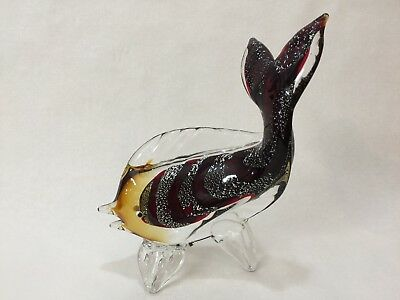 "Vintage Large Italian Murano Art Glass Tropical Fish Figurine, 10"" T x 7 1/2"" L"
