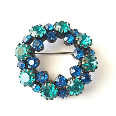 Vintage Brooch Pin Teal Green Sapphire Blue Crystal Rhinestone Black Enamel S98