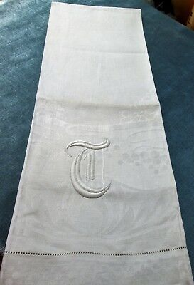 Fabulous Antique Linen Damask Towel T Monogram Art Nouveau Florals FREE SHIPPING