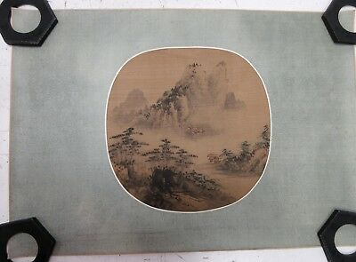 Vintage Chinese Oblong Oval Painting Of Houses In Misty Mountains On Green Silk