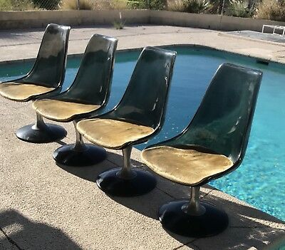 Set of 4 Mid Century Modern CHROMCRAFT PLastic & Chrome Swivel Chairs 36""