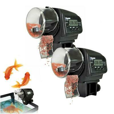 2 PCS Digital LCD Automatic Auto Aquarium Tank Fish Food Feeder Timer Feeding
