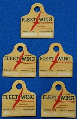5  1940's Fleet-Wing Oil Co. service & lube job key-chain tags - Originals -