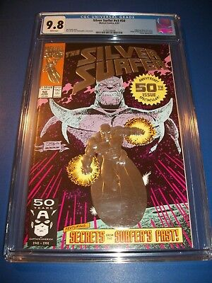 Silver Surfer #50 Investment Grade CGC 9.8 Key Embossed Thanos Cover Origin WOW!
