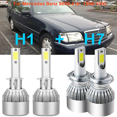 H1 H7 LED Headlight Conversion Kits Bulbs For Mercedes-Benz S600 4 dr. 1996-1995