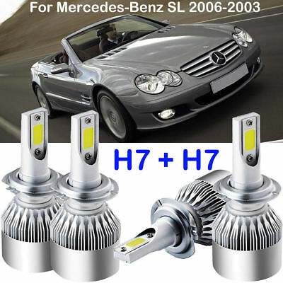 H7 CREE LED Headlight Conversion Kits Power Bulbs For Mercedes-Benz SL 2006-2003