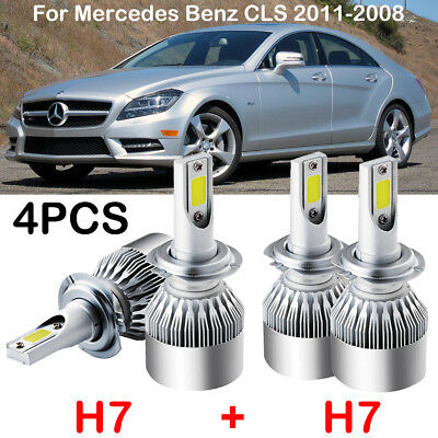 H7 LED Headlight Kits Power Bulbs 6000K Replace For Mercedes Benz CLS 2011-2008