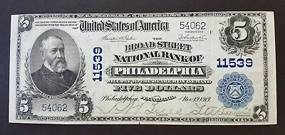 (Scarce) Broad Street Nb Charter 11539 - 1902 $5 Philadelphia National Bank Note