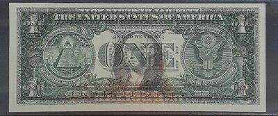 (Cool Error) 2003A $1 Note With Full Front To Back Offset