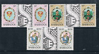 Barbados 1981 Royal Wedding GUTTER PR SG 674/6 MNH