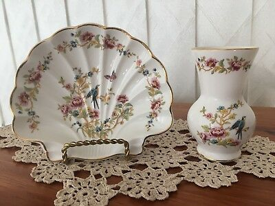 Royal Albert Fine Bone China Vase and Side Plate Astbury Pattern Exc Cond.