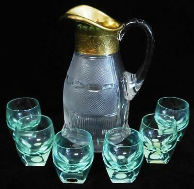 GLASS: Moser glassware, seven pieces: 'Splendid' pattern pitcher with ... Lot 20