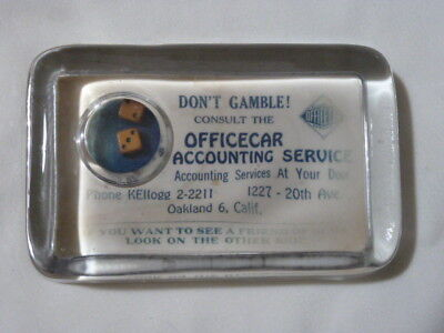 GLASS Advertising Paper Weight Mirror Rolling Dice - Officecar Oakland CA
