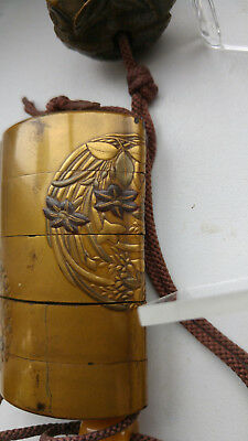 Japanese gold lacquer four-case inro, 18th.C. Signed Yoyosai