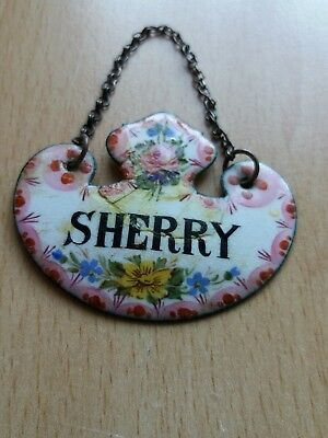"Vintage Decanter Label ""sherry"" Ceramic Plate On Copper"