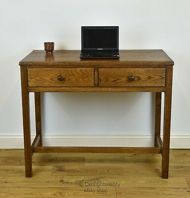 Vintage Oak Air Ministry Small Desk Side Hall Table Cotswold School Mid Century
