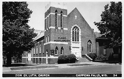 "Chippewa Falls, Wisconsin ""Zion Ev. Lutheran Church"" Rppc Real Photo Postcard"