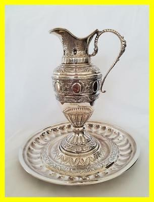 Very Large Egyptian Silver Hallmarked Classical Wine Ewer And Stand, 1165 Grams