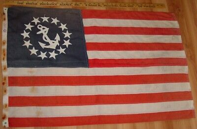 Old 1950s Maine Estate Yacht Ensign Flag -  Nylanin -  QUITE WEATHERED