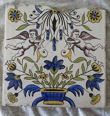 Antique 18th century Dutch Delft tile with little angels or cupido's