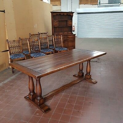 Antique/reproduction Solid Oak Large Farmhouse Refectory Dinning/kitchen Table