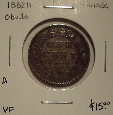 A Canada Victoria 1882H Obv C1a Large Cent - VF