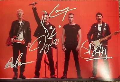 Real Hand Signed U2 picture by Bono, The Edge, Mullen, Clayton