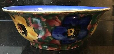 Old Vintage Art Deco Early 20th Century Floral Naive Handpainted Decorative Bowl