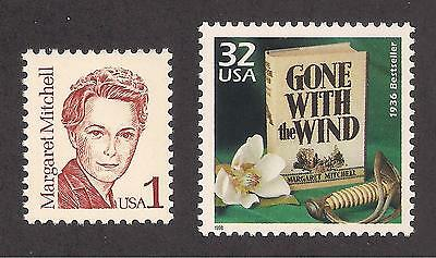 GONE WITH THE WIND by MARGARET MITCHELL - SET OF 2 U.S. STAMPS - MINT CONDITION