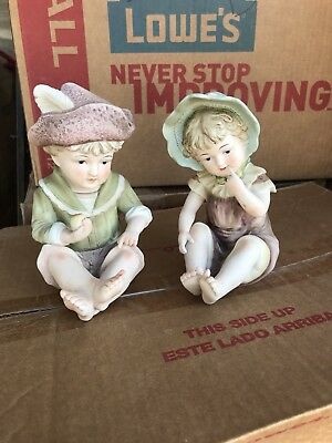 Vintage Bisque Boy & Girl Piano Figurines #6162 Andrea by Sadek