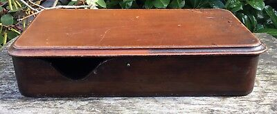 Vintage Antique Wooden Oak? Napkin Serviette Lidded Box For TLC