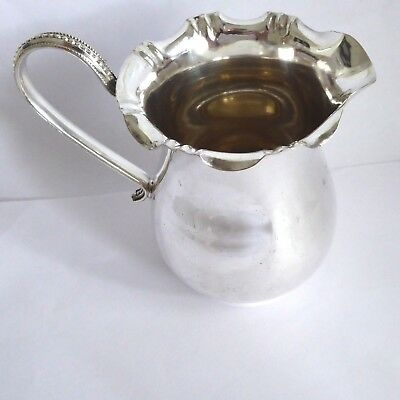Vintage Silver Plate Nice Frilly Rim Milk / Cream Jug  4.5 Inches Tall  Gleaming