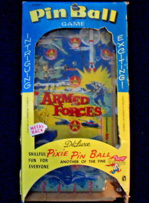 VINTAGE Pixie Pinball Game ARMED FORCES Tabletop Marble Game MILITARY THEMED