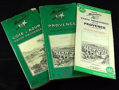 2 Michelin GUIDE DU PNEU French Tour Books France Provence Cote D'Azur 1961 16th