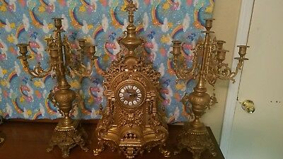 Antique Imperial Italian clock and pair of candleabras brass