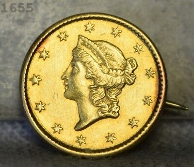 """1850 Coronet Head Gold $1 """"AU+ Detail"""" *Free S/H After 1st Item*"""