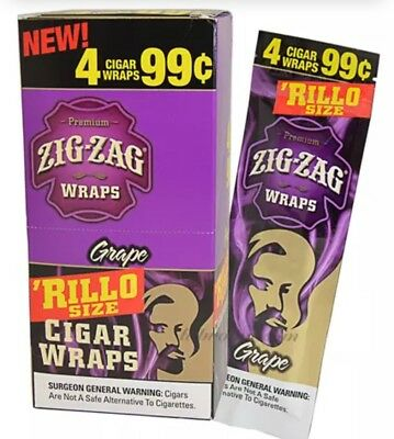 1 BOX ZIG ZAG CIGAR RILLO WRAPS 4 WARPS PACK  TOTAL 60 WRAPS BOX Grape