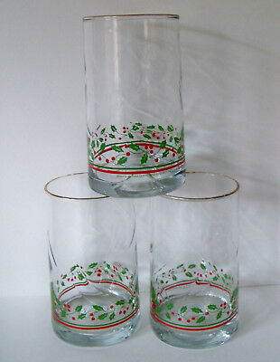 Set of 3 Arby's Christmas Tumbler Glasses 1984 HOLLY BERRIES Gold Trimmed