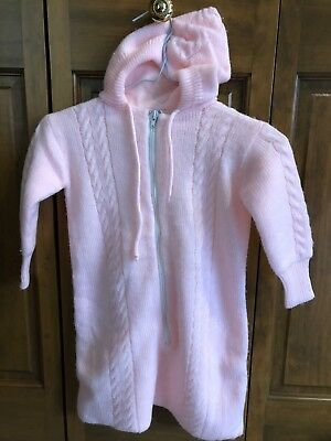 Vintage 1970's 0-12 Months Zippered Sweater One Piece With Hood